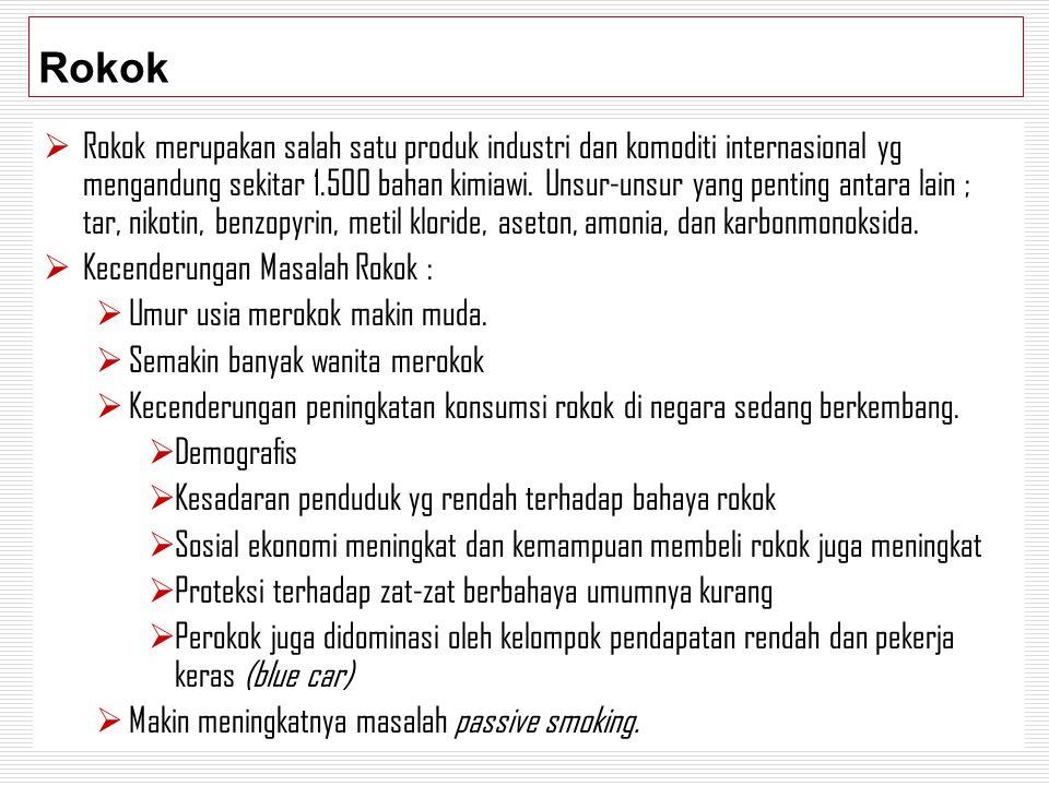 Rokok  Rokok merupakan salah satu produk industri dan komoditi internasional yg mengandung sekitar 1.500 bahan kimiawi. Unsur-unsur yang penting anta