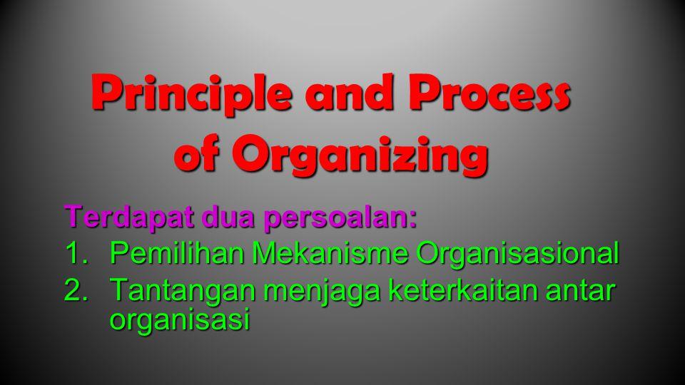 Principle and Process of Organizing Terdapat dua persoalan: 1.Pemilihan Mekanisme Organisasional 2.Tantangan menjaga keterkaitan antar organisasi