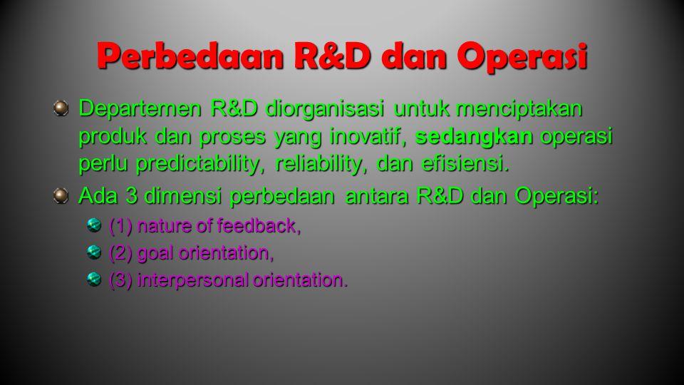 Perbedaan R&D dan Operasi Departemen R&D diorganisasi untuk menciptakan produk dan proses yang inovatif, sedangkan operasi perlu predictability, reliability, dan efisiensi.