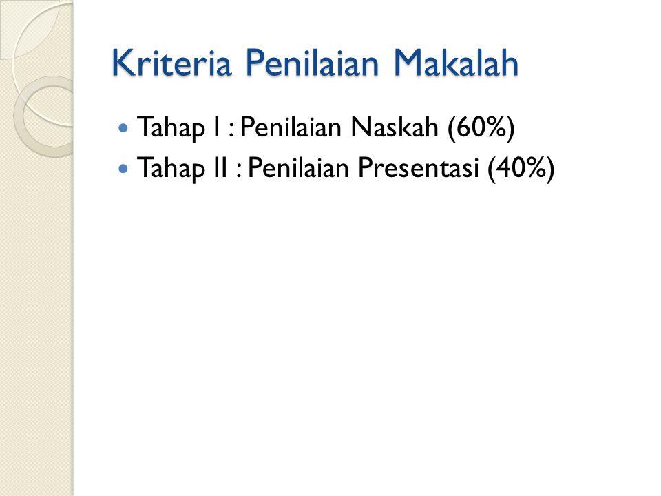 Kriteria Penilaian Makalah Tahap I : Penilaian Naskah (60%) Tahap II : Penilaian Presentasi (40%)
