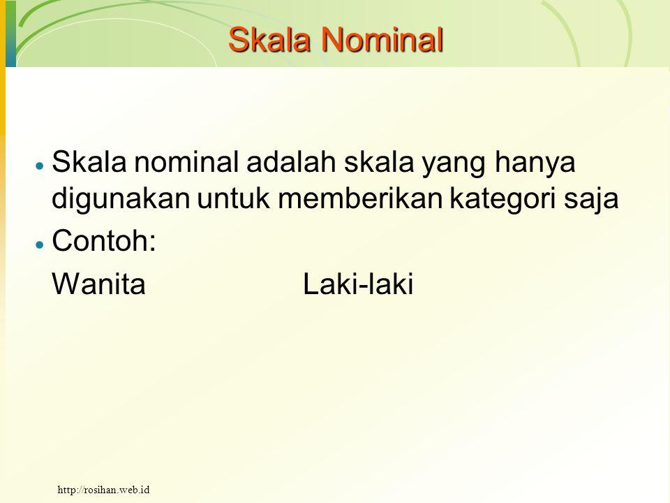Skala Nominal  Skala nominal adalah skala yang hanya digunakan untuk memberikan kategori saja  Contoh: Wanita Laki-laki http://rosihan.web.id