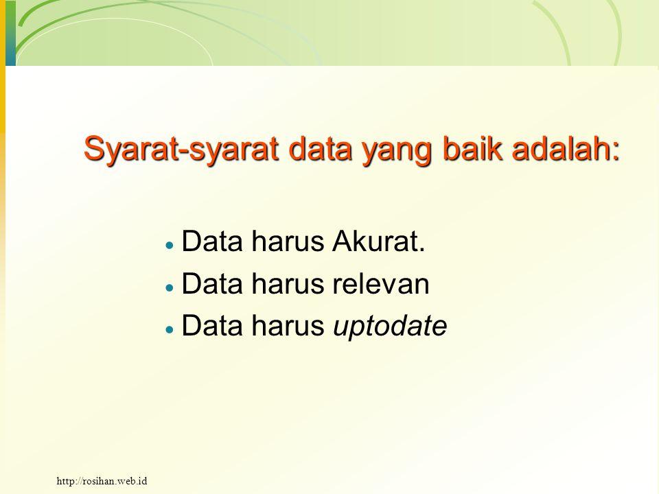 Syarat-syarat data yang baik adalah:  Data harus Akurat.