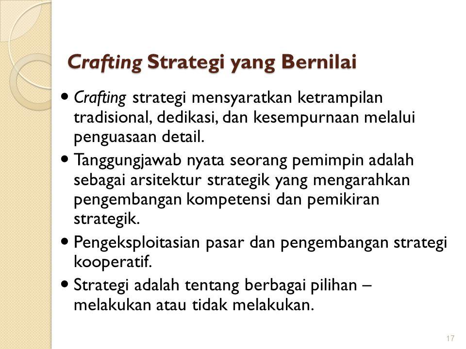 Crafting Strategi yang Bernilai 17 Crafting strategi mensyaratkan ketrampilan tradisional, dedikasi, dan kesempurnaan melalui penguasaan detail. Tangg