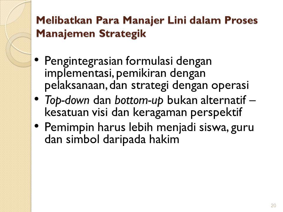 Melibatkan Para Manajer Lini dalam Proses Manajemen Strategik 20 Pengintegrasian formulasi dengan implementasi, pemikiran dengan pelaksanaan, dan stra