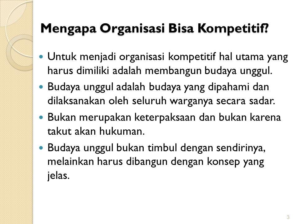 Mengapa Organisasi Bisa Kompetitif? Untuk menjadi organisasi kompetitif hal utama yang harus dimiliki adalah membangun budaya unggul. Budaya unggul ad
