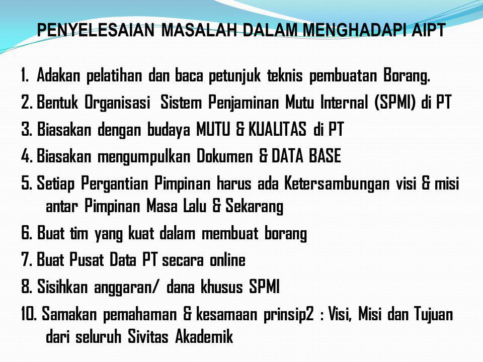PENYELESAIAN MASALAH DALAM MENGHADAPI AIPT 1. Adakan pelatihan dan baca petunjuk teknis pembuatan Borang. 2. Bentuk Organisasi Sistem Penjaminan Mutu