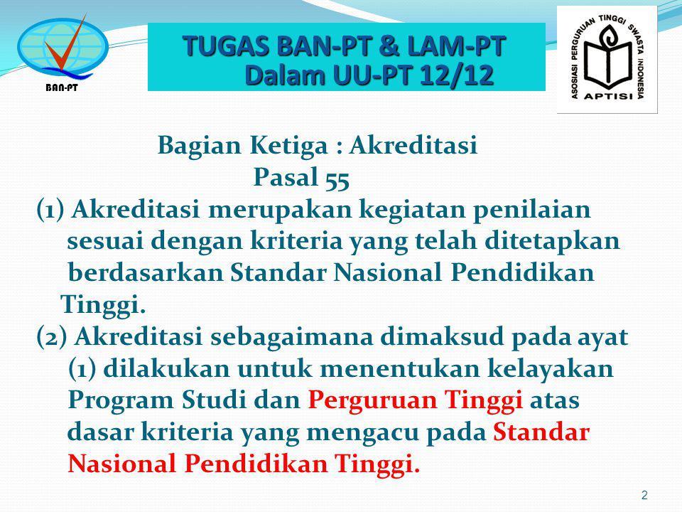 TUGAS BAN-PT & LAM-PT Dalam UU-PT 12/12 TUGAS BAN-PT & LAM-PT Dalam UU-PT 12/12 3 (3) Pemerintah membentuk Badan Akreditasi Nasional Perguruan Tinggi untuk mengembangkan sistem akreditasi.