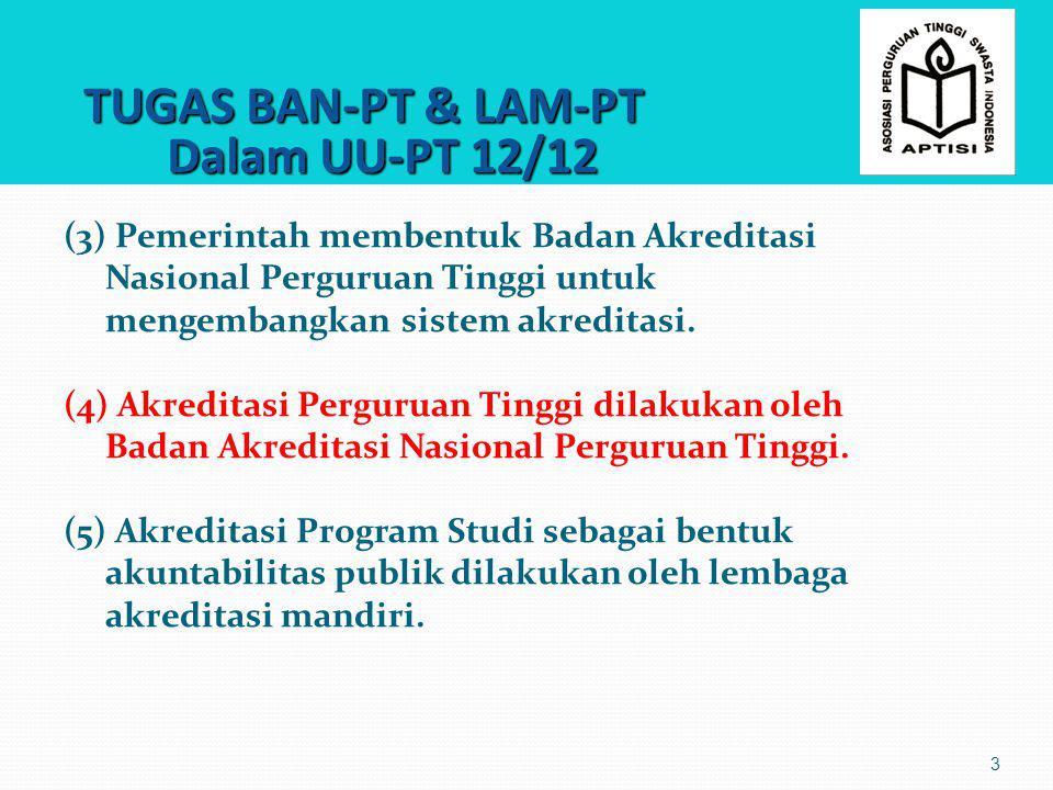 TUGAS BAN-PT & LAM-PT Dalam UU-PT 12/12 TUGAS BAN-PT & LAM-PT Dalam UU-PT 12/12 3 (3) Pemerintah membentuk Badan Akreditasi Nasional Perguruan Tinggi
