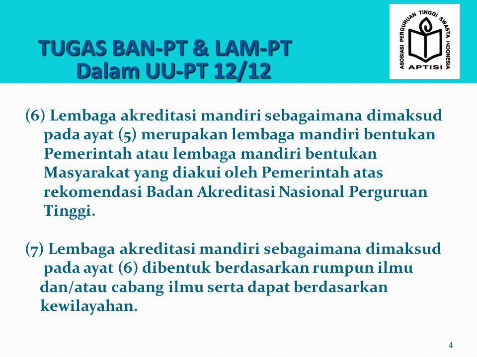 TUGAS BAN-PT & LAM-PT Dalam UU-PT 12/12 TUGAS BAN-PT & LAM-PT Dalam UU-PT 12/12 5 (8) Ketentuan lebih lanjut mengenai akreditasi sebagaimana dimaksud pada ayat (1), Badan Akreditasi Nasional Pendidikan Tinggi sebagaimana dimaksud pada ayat (4), dan lembaga akreditasi mandiri sebagaimana dimaksud pada ayat (5) diatur dalam Peraturan Menteri.