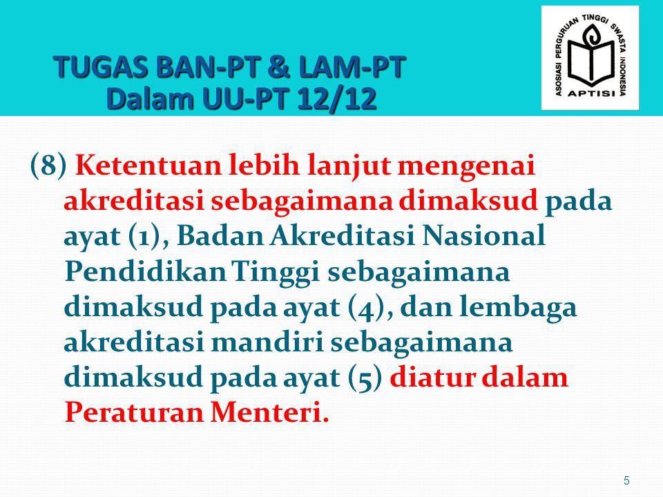 TUGAS BAN-PT & LAM-PT Dalam UU-PT 12/12 TUGAS BAN-PT & LAM-PT Dalam UU-PT 12/12 5 (8) Ketentuan lebih lanjut mengenai akreditasi sebagaimana dimaksud