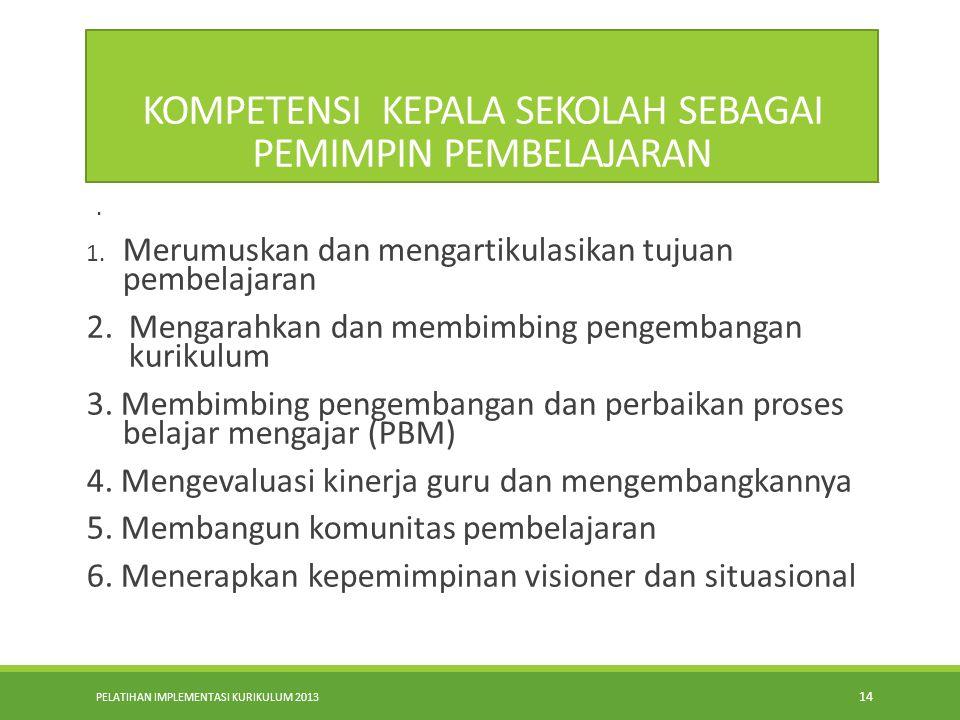 PELATIHAN IMPLEMENTASI KURIKULUM 2013 13 Model Tindakan (lanjutan) 6. Membentuk kultur sekolah yang kondusif bagi pembelajaran 7. Membangun learning p