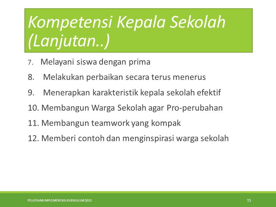 PELATIHAN IMPLEMENTASI KURIKULUM 2013 14 KOMPETENSI KEPALA SEKOLAH SEBAGAI PEMIMPIN PEMBELAJARAN. 1. Merumuskan dan mengartikulasikan tujuan pembelaja