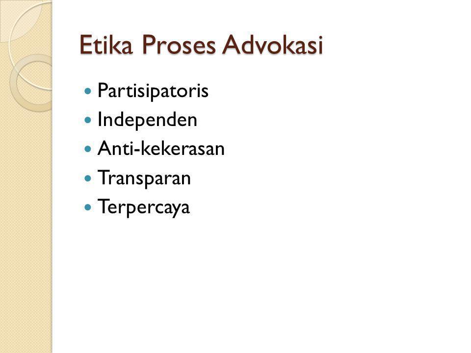 Etika Proses Advokasi Partisipatoris Independen Anti-kekerasan Transparan Terpercaya