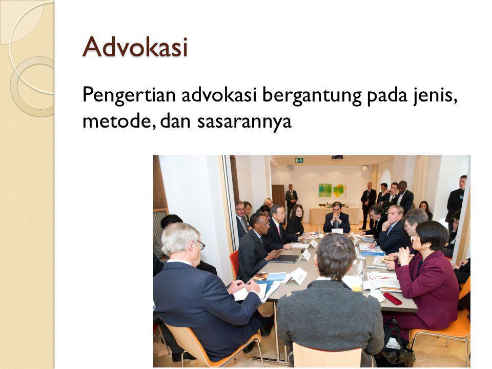 Jenis Advokasi Individu Kelompok Advokasi anggaran Advokasi perundang-undangan Advokasi pelayanan Advokasi kepentingan Advokasi lain-lain