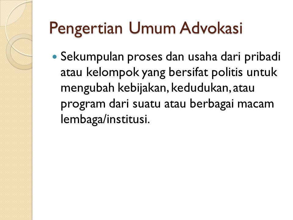 Pertimbangan Memilih Tujuan 1.Iklim politik 2. Kemungkinan keberhasilan 3.