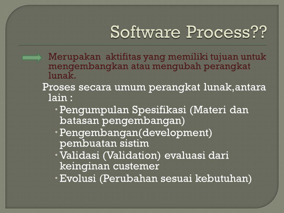 Merupakan aktifitas yang memiliki tujuan untuk mengembangkan atau mengubah perangkat lunak.