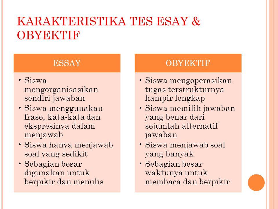 KARAKTERISTIKA TES ESAY & OBYEKTIF ESSAY Siswa mengorganisasikan sendiri jawaban Siswa menggunakan frase, kata-kata dan ekspresinya dalam menjawab Sis