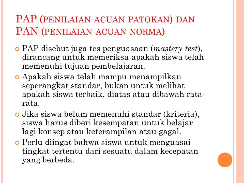 PENILAIAN ACUAN NORMA (PAN) PAN dirancang untuk membandingkan seorang siswa dengan siswa lainnya dan menentukan kedudukan siswa.