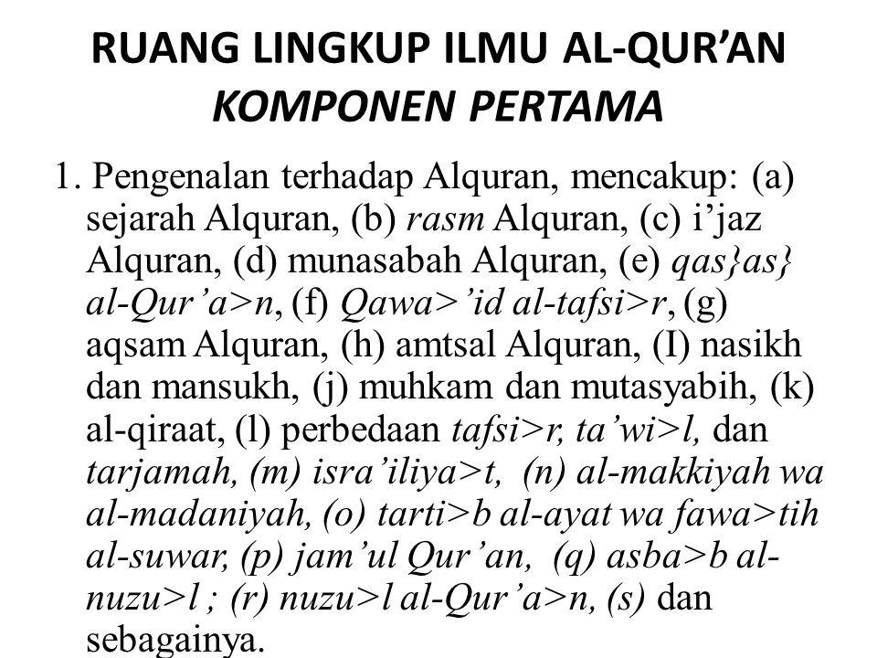 RUANG LINGKUP ILMU AL-QUR'AN KOMPONEN PERTAMA 1. Pengenalan terhadap Alquran, mencakup: (a) sejarah Alquran, (b) rasm Alquran, (c) i'jaz Alquran, (d)