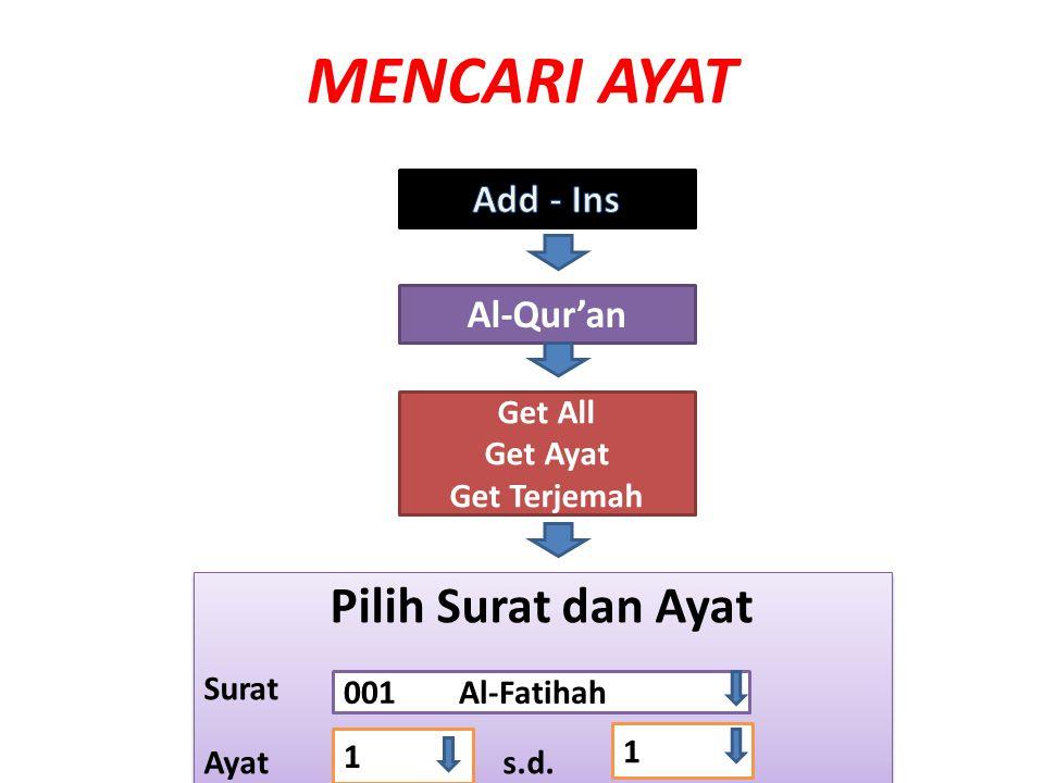 MENCARI AYAT Al-Qur'an Get All Get Ayat Get Terjemah Pilih Surat dan Ayat Surat Ayat s.d. Pilih Surat dan Ayat Surat Ayat s.d. 001 Al-Fatihah 1 1