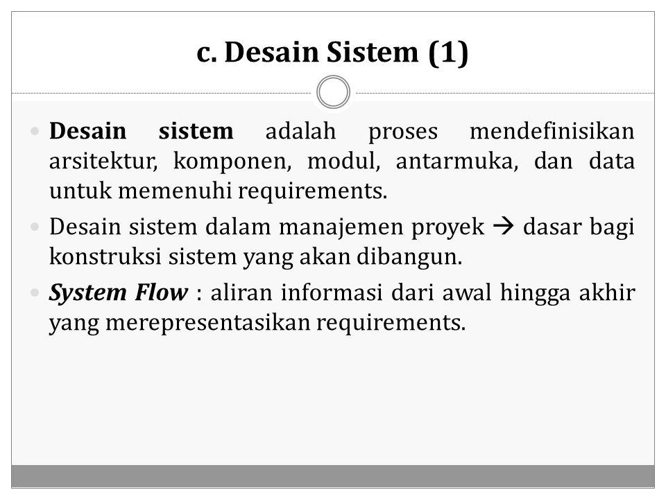 c. Desain Sistem (1) Desain sistem adalah proses mendefinisikan arsitektur, komponen, modul, antarmuka, dan data untuk memenuhi requirements. Desain s
