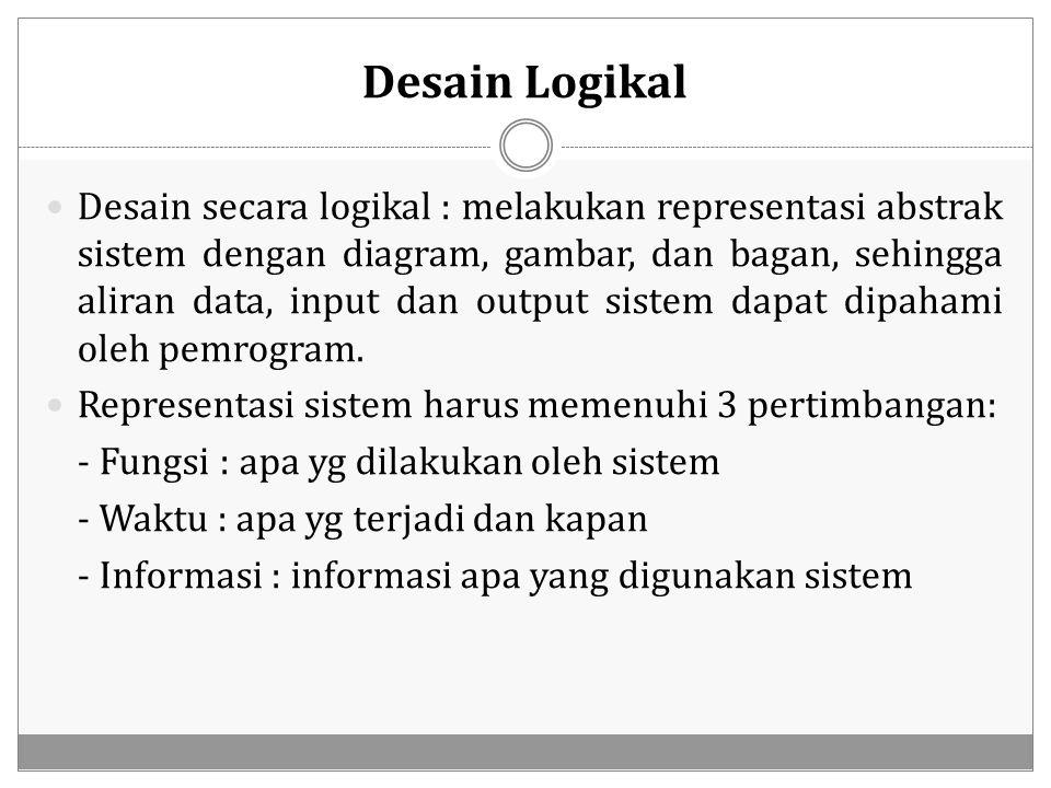 Desain Logikal Desain secara logikal : melakukan representasi abstrak sistem dengan diagram, gambar, dan bagan, sehingga aliran data, input dan output