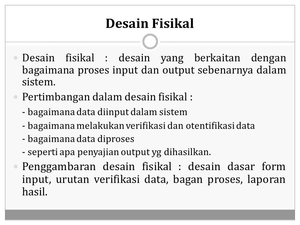 Desain Fisikal Desain fisikal : desain yang berkaitan dengan bagaimana proses input dan output sebenarnya dalam sistem. Pertimbangan dalam desain fisi