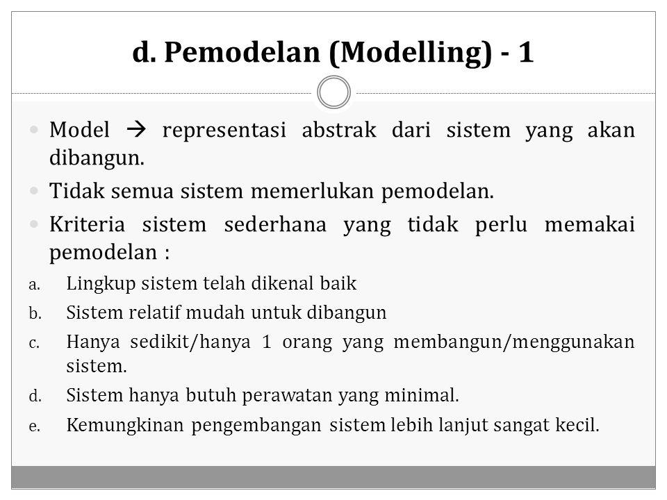 d. Pemodelan (Modelling) - 1 Model  representasi abstrak dari sistem yang akan dibangun. Tidak semua sistem memerlukan pemodelan. Kriteria sistem sed