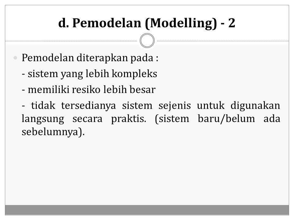 d. Pemodelan (Modelling) - 2 Pemodelan diterapkan pada : - sistem yang lebih kompleks - memiliki resiko lebih besar - tidak tersedianya sistem sejenis