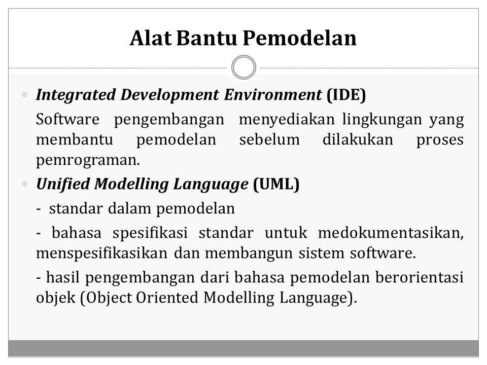 Alat Bantu Pemodelan Integrated Development Environment (IDE) Software pengembangan menyediakan lingkungan yang membantu pemodelan sebelum dilakukan p