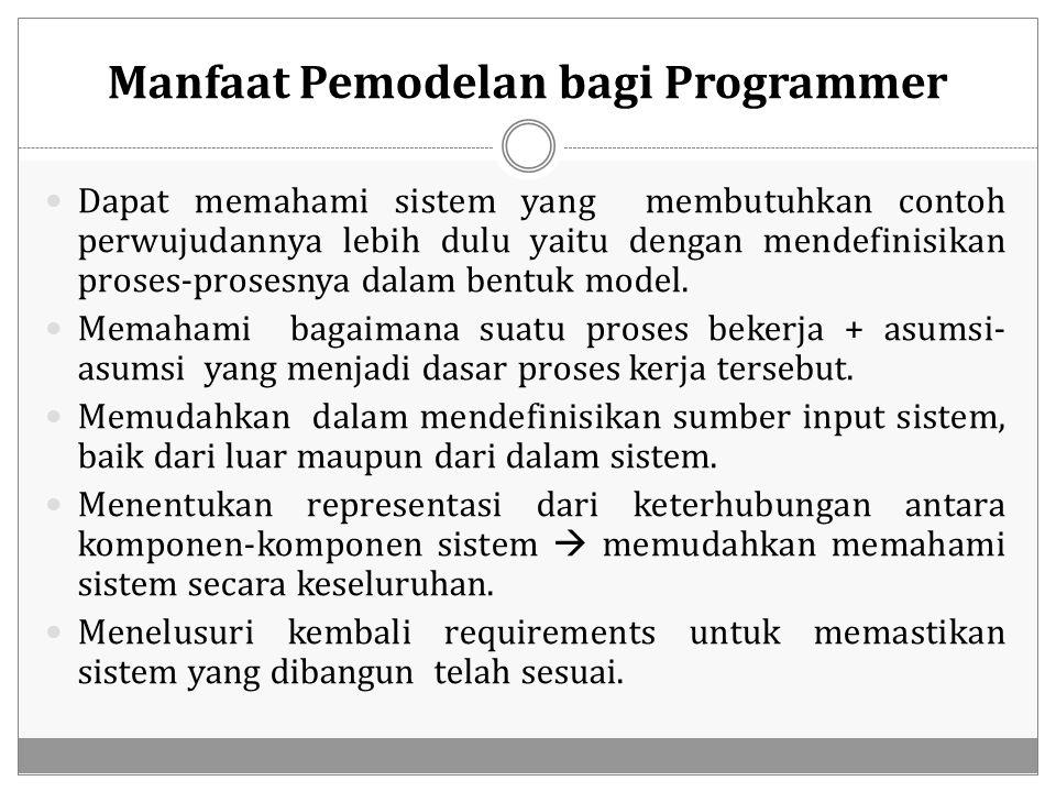 Manfaat Pemodelan bagi Programmer Dapat memahami sistem yang membutuhkan contoh perwujudannya lebih dulu yaitu dengan mendefinisikan proses-prosesnya
