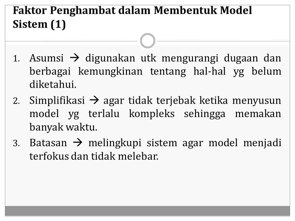 Faktor Penghambat dalam Membentuk Model Sistem (1) 1. Asumsi  digunakan utk mengurangi dugaan dan berbagai kemungkinan tentang hal-hal yg belum diket