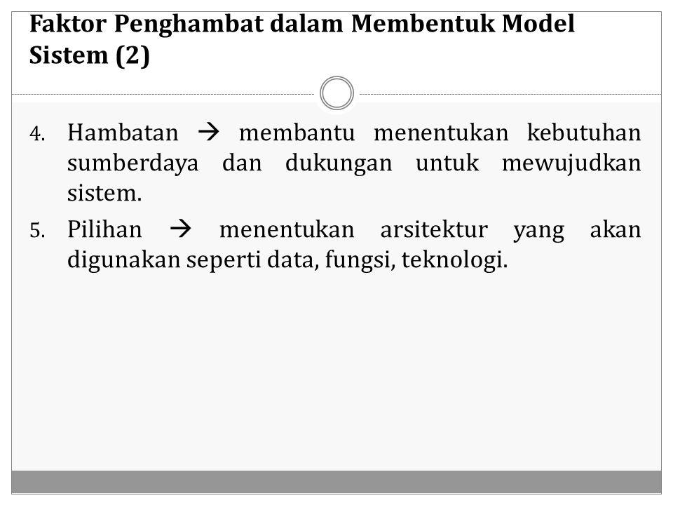 Faktor Penghambat dalam Membentuk Model Sistem (2) 4. Hambatan  membantu menentukan kebutuhan sumberdaya dan dukungan untuk mewujudkan sistem. 5. Pil
