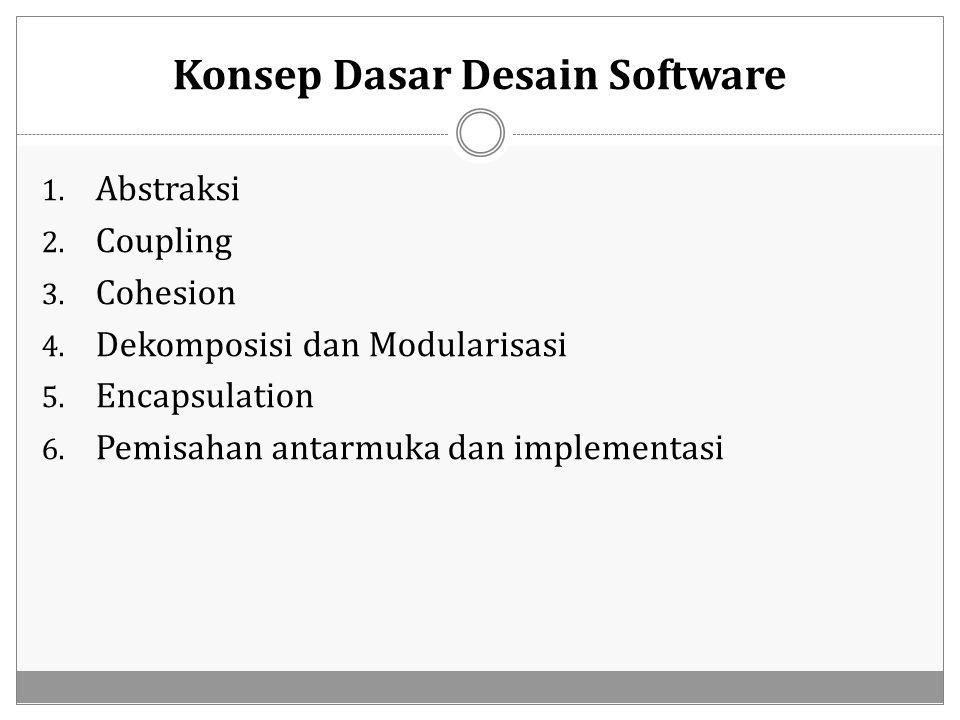 Konsep Dasar Desain Software 1. Abstraksi 2. Coupling 3. Cohesion 4. Dekomposisi dan Modularisasi 5. Encapsulation 6. Pemisahan antarmuka dan implemen