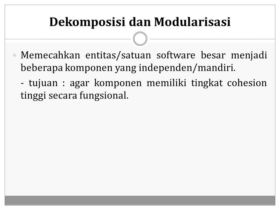 Dekomposisi dan Modularisasi Memecahkan entitas/satuan software besar menjadi beberapa komponen yang independen/mandiri. - tujuan : agar komponen memi