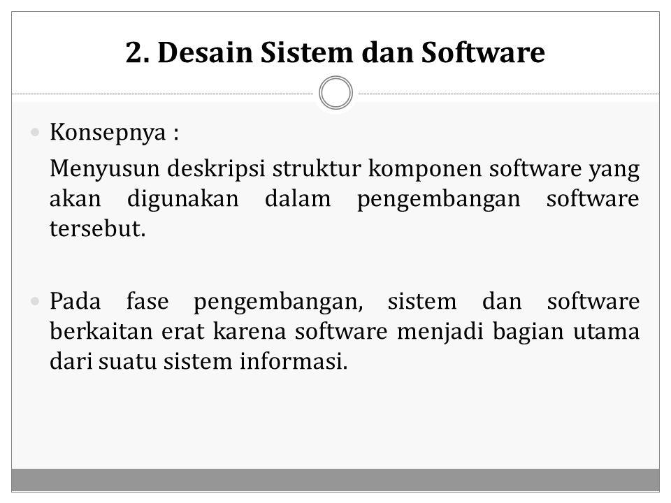 2. Desain Sistem dan Software Konsepnya : Menyusun deskripsi struktur komponen software yang akan digunakan dalam pengembangan software tersebut. Pada