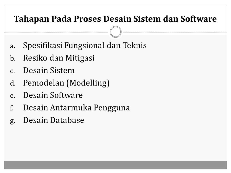 Tahapan Pada Proses Desain Sistem dan Software a. Spesifikasi Fungsional dan Teknis b. Resiko dan Mitigasi c. Desain Sistem d. Pemodelan (Modelling) e