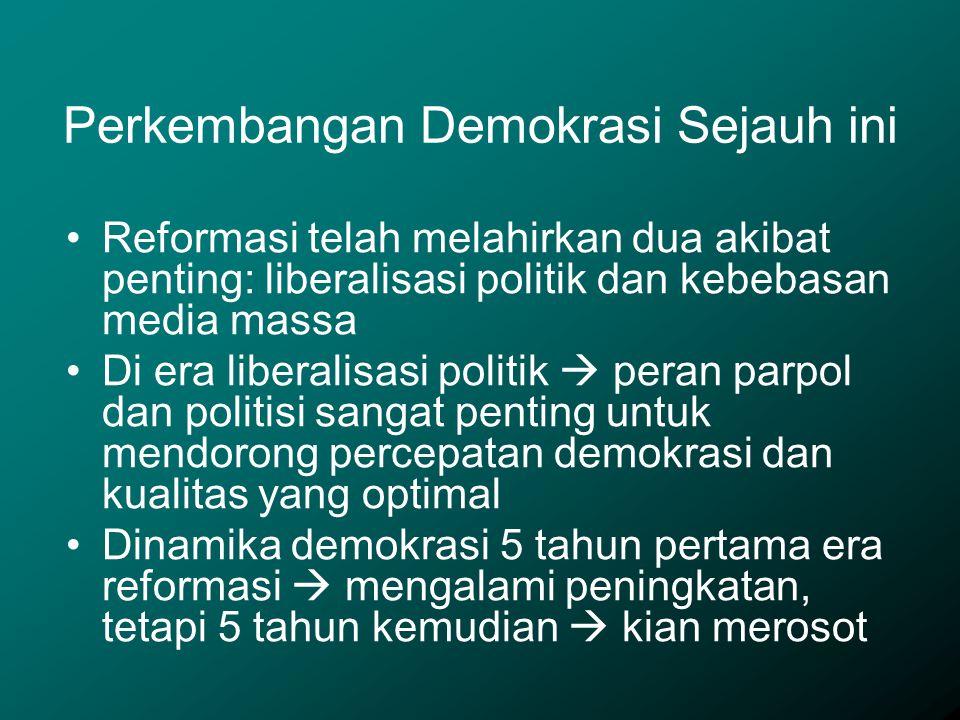 Reformasi telah melahirkan dua akibat penting: liberalisasi politik dan kebebasan media massa Di era liberalisasi politik  peran parpol dan politisi