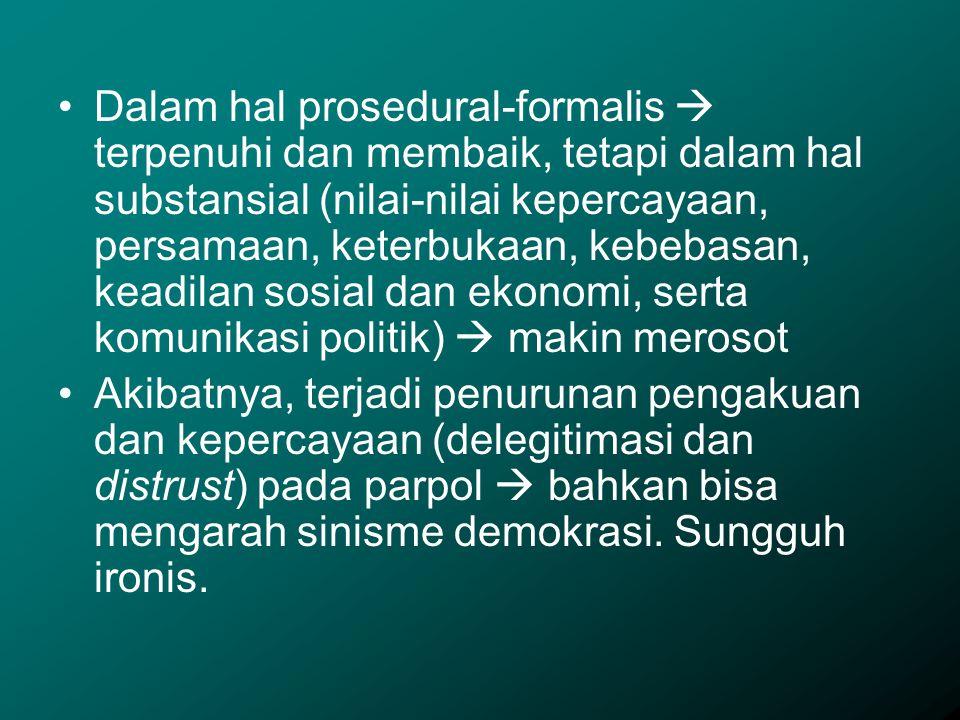 Dalam hal prosedural-formalis  terpenuhi dan membaik, tetapi dalam hal substansial (nilai-nilai kepercayaan, persamaan, keterbukaan, kebebasan, keadi