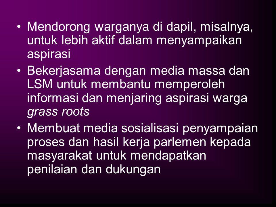 Mendorong warganya di dapil, misalnya, untuk lebih aktif dalam menyampaikan aspirasi Bekerjasama dengan media massa dan LSM untuk membantu memperoleh