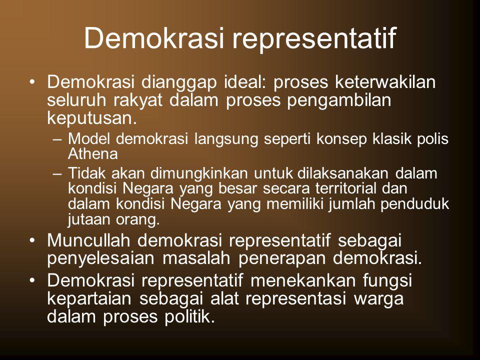 Demokrasi representatif Demokrasi dianggap ideal: proses keterwakilan seluruh rakyat dalam proses pengambilan keputusan. –Model demokrasi langsung sep