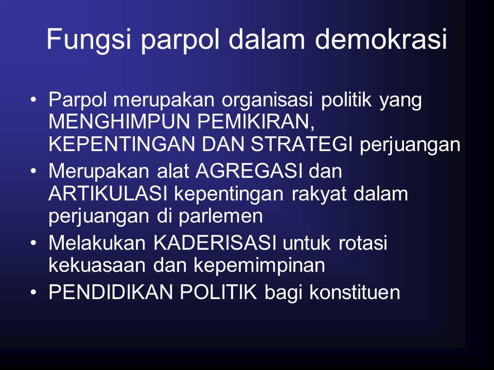 Fungsi parpol dalam demokrasi Parpol merupakan organisasi politik yang MENGHIMPUN PEMIKIRAN, KEPENTINGAN DAN STRATEGI perjuangan Merupakan alat AGREGA