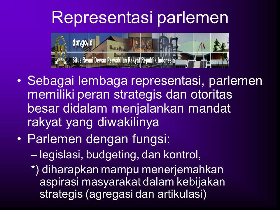 Representasi parlemen Sebagai lembaga representasi, parlemen memiliki peran strategis dan otoritas besar didalam menjalankan mandat rakyat yang diwaki