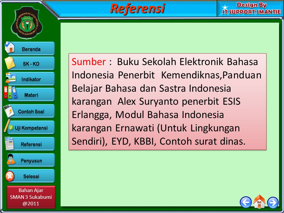 Bahan Ajar SMAN 3 Sukabumi @2011 Bahan Ajar SMAN 3 Sukabumi @2011 Sumber : Buku Sekolah Elektronik Bahasa Indonesia Penerbit Kemendiknas,Panduan Belaj