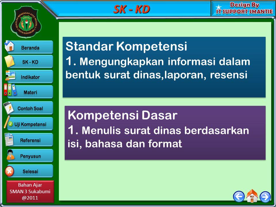 Bahan Ajar SMAN 3 Sukabumi @2011 Bahan Ajar SMAN 3 Sukabumi @2011 SK - KD Standar Kompetensi 1. Mengungkapkan informasi dalam bentuk surat dinas,lapor