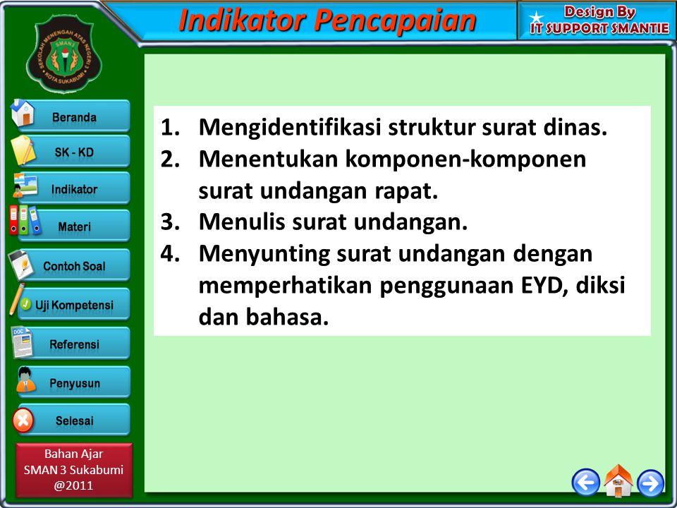 Bahan Ajar SMAN 3 Sukabumi @2011 Bahan Ajar SMAN 3 Sukabumi @2011 Indikator Pencapaian 1.Mengidentifikasi struktur surat dinas. 2.Menentukan komponen-