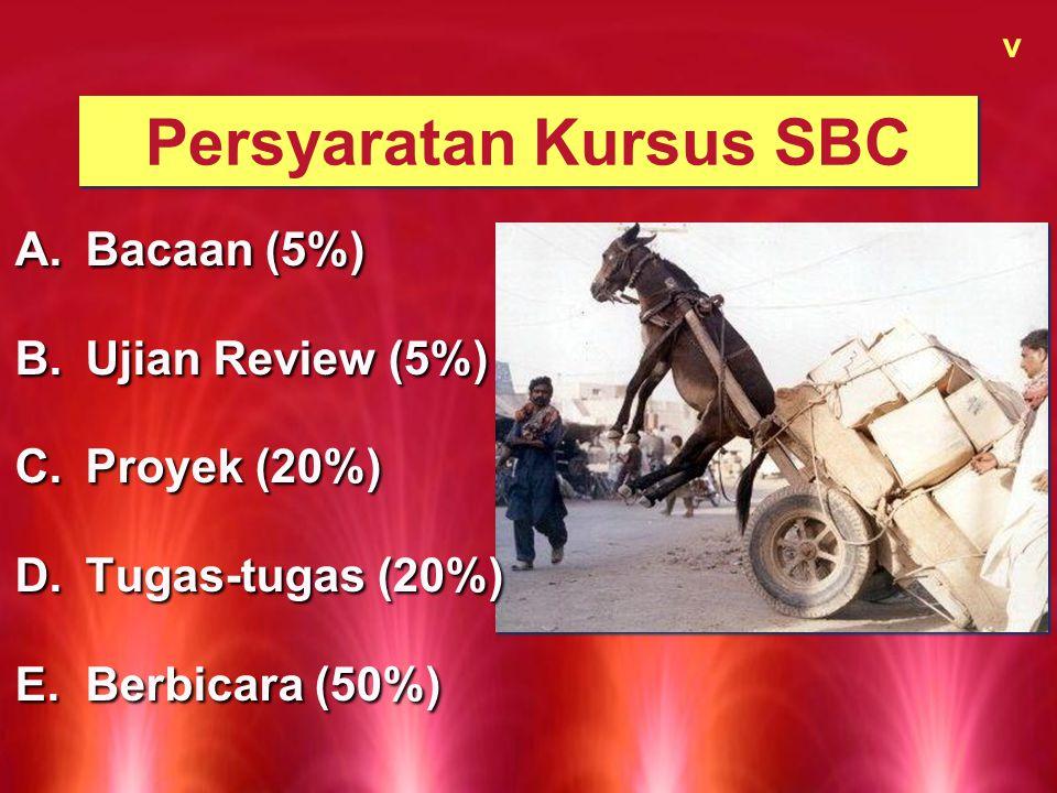 Persyaratan Kursus SBC v A.Bacaan (5%) B.Ujian Review (5%) C.Proyek (20%) D.Tugas-tugas (20%) E.Berbicara (50%) A.Bacaan (5%) B.Ujian Review (5%) C.Pr