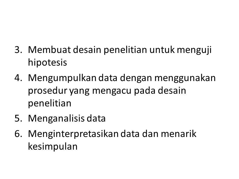 3.Membuat desain penelitian untuk menguji hipotesis 4.Mengumpulkan data dengan menggunakan prosedur yang mengacu pada desain penelitian 5.Menganalisis data 6.Menginterpretasikan data dan menarik kesimpulan