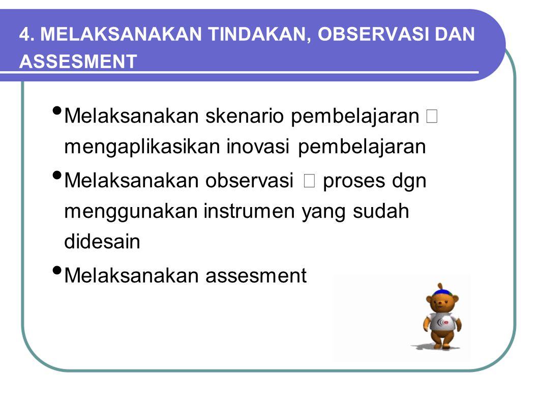 Melaksanakan skenario pembelajaran  mengaplikasikan inovasi pembelajaran Melaksanakan observasi  proses dgn menggunakan instrumen yang sudah didesai