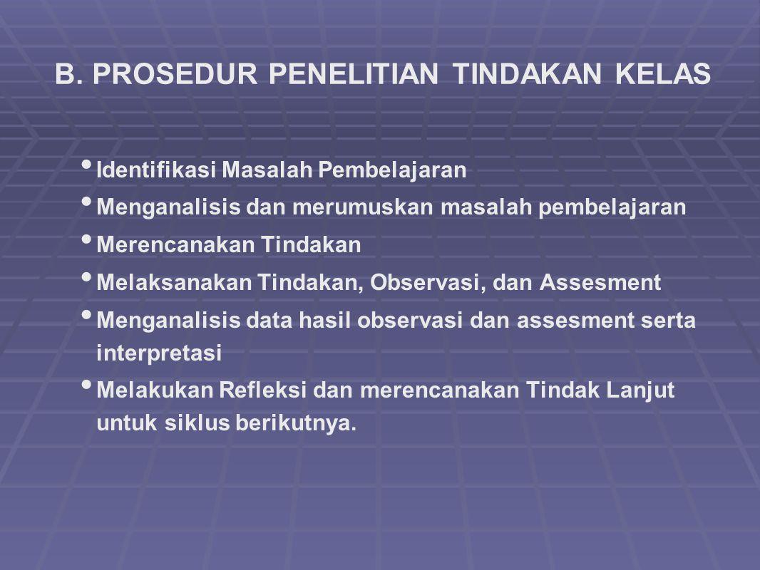 B. PROSEDUR PENELITIAN TINDAKAN KELAS Identifikasi Masalah Pembelajaran Menganalisis dan merumuskan masalah pembelajaran Merencanakan Tindakan Melaksa